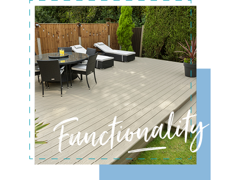 UPVC decking with a table and chairs
