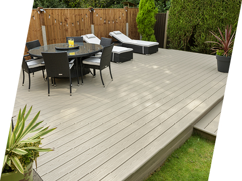 UPVC deck with sunbeds and table