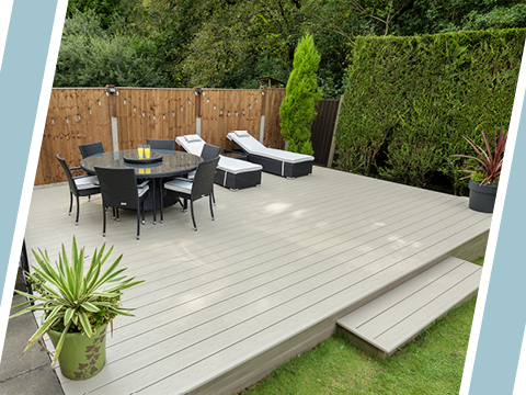 UPVC decking with a table and sunbeds
