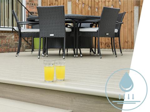A table set up on a UPVC deck