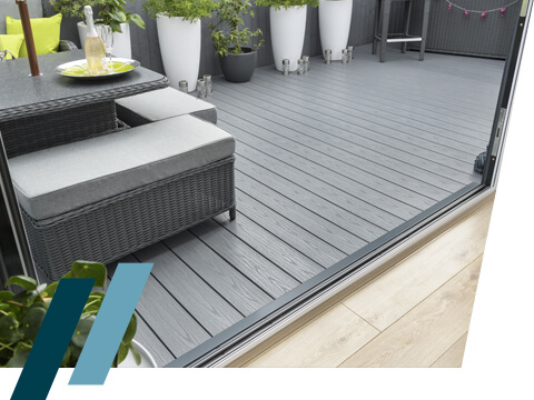 An exit point onto grey UPVC decking
