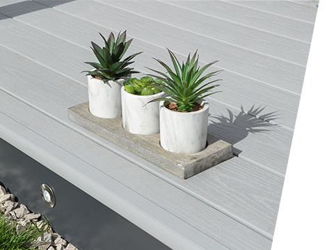 Plant pots on a UPVC deck